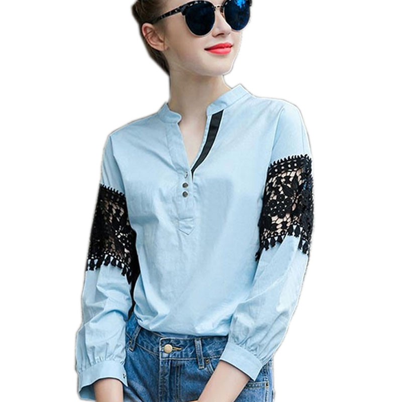 European Style Women Shirts Blouse Big Size Loose Blue Cotton Lace Blouse Women Tops Crochet Lace