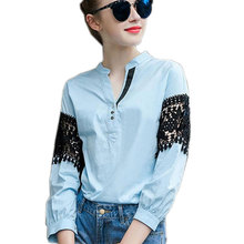 European Style Women Shirts Blouse Plus Size Loose Blue Cotton Lace Blouse Women Tops Crochet Lace Shirt Female Blusas Femininas