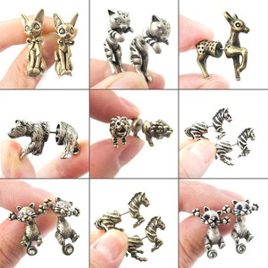Jisensp Ethnic Cute Animal Stud Earrings Women Fashion Antique Gold Earings Jewelry Cartoon Rabbit Cat Earing for Men oorbellen(China)