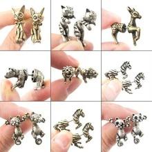 Jisensp Ethnic Cute Animal Stud Earrings Women Fashion Antique Gold Earings Jewe