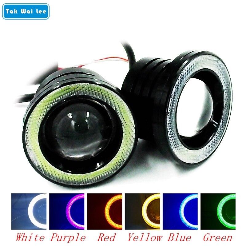 Tak Wai Lee 2X 3,5 palcová LED COB Angel Eyes Mlhovky Externí vodotěsné auto Styling DRL Denní běhová světla s objektivem