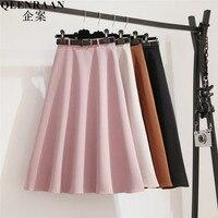 2018 New Long Skirts Women's High Waist Midi Skirt Spring Pleated Umbrella Pettiskirt Female Maxi Skirts Saias