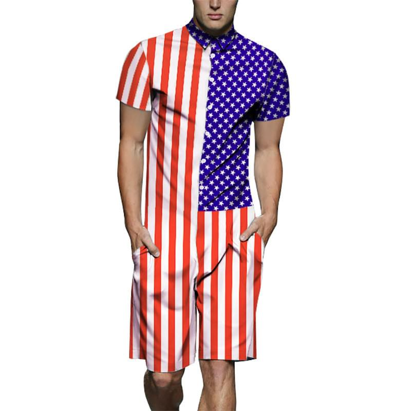 0794a54c455 2019 Cute Cat Men Rompers 3D Jumpsuits USA Flag Playsuits Harajuku ...