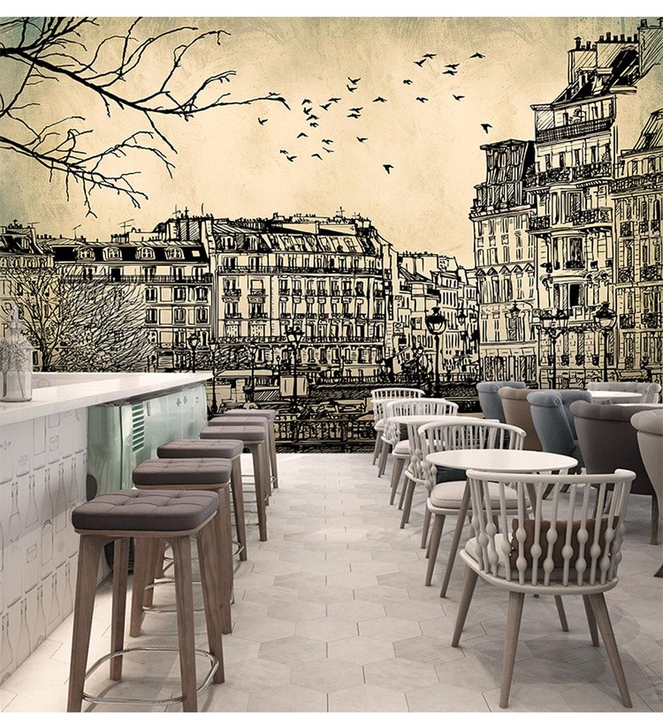 Eropa Arsitektur Sketsa Bangunan Kota Landscape Wallpaper Gulungan