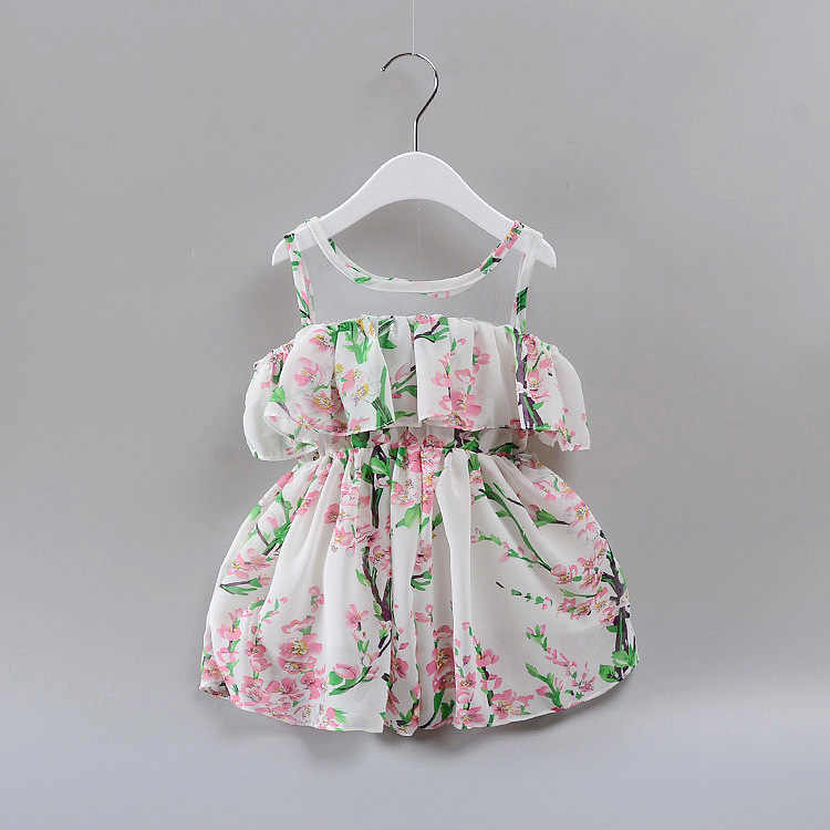 Retail Girl's Dress Summer Floral Pattern Girl Clothes Kids Summer Dresses X052