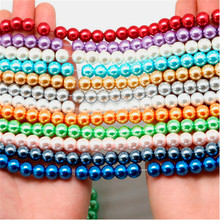 4 6 8 10 мм Стеклянная имитация жемчуга бусины Круглые шарики 20-100 шт для DIY браслета ожерелье ювелирных изделий