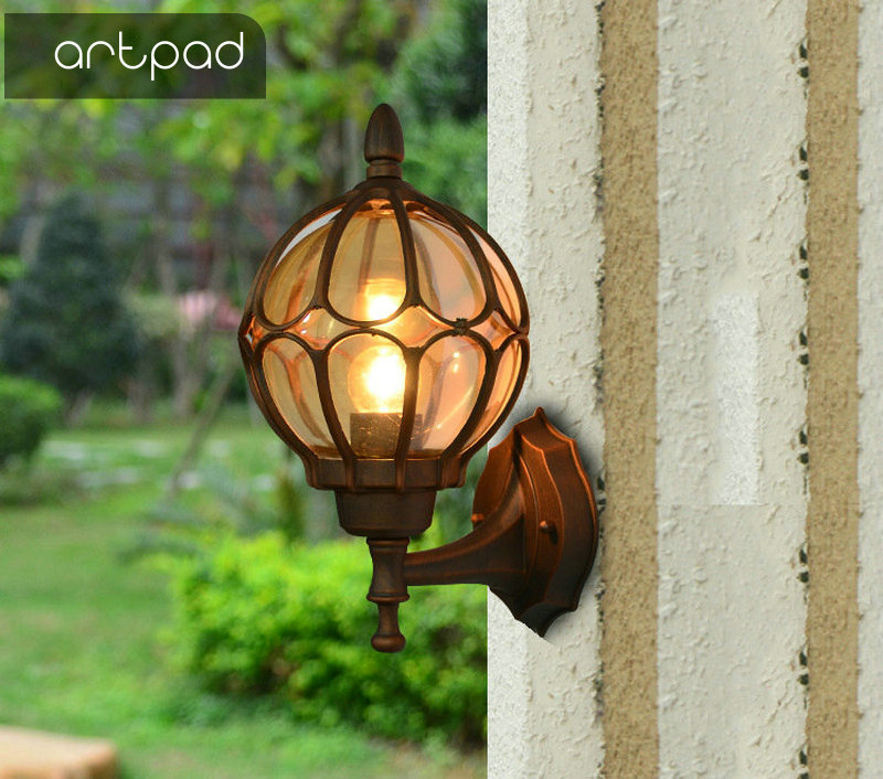 Artpad Luxury Gold Black Bronze LED Outdoor Wall Light Glass Aluminium Wall Mount Waterproof Lamps Decor Door Hotel Porch Lights