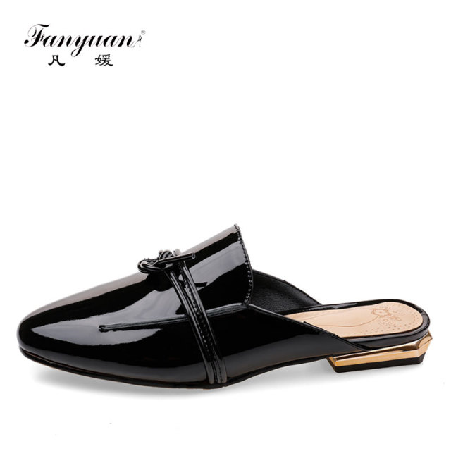 2018 Fanyuan Womens Flat Shoes Stylish Design Ladies Mules Shoes