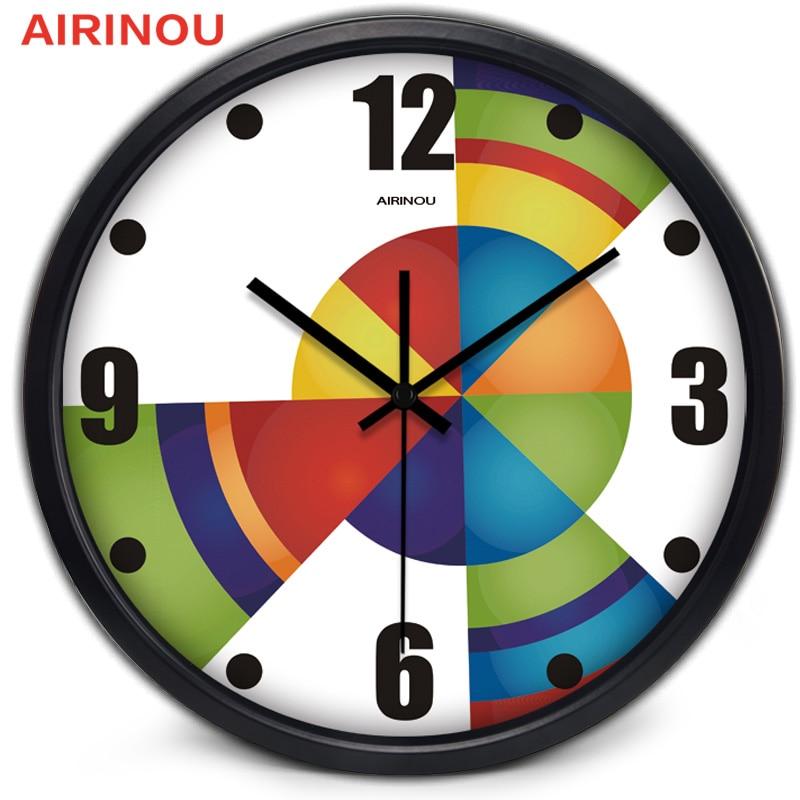 Airinou Abstract Rotate Color Art Metal Quality Living Room Wall Clock Creative Job Watch Fashion