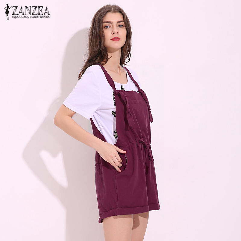 2baeb4be6904 2018 ZANZEA New Summer Rompers Womens Jumpsuit Casual Pockets Loose Short  Playsuits Solid Strap Overalls Plus Size S 5XL-in Rompers from Women s  Clothing on ...
