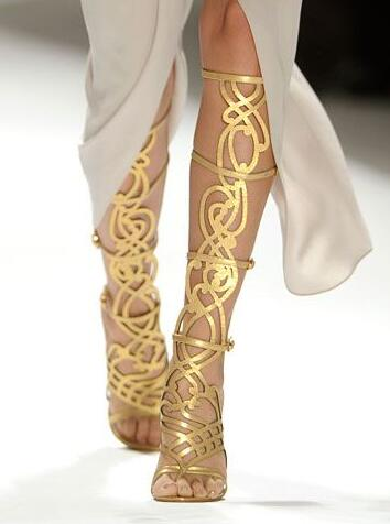 Real Photo Hot Selling Cut-out Gold Graphic Gladiator Sandal Boots Peep Toe High Heel Summer Dress shoes woman Women Size 34-42
