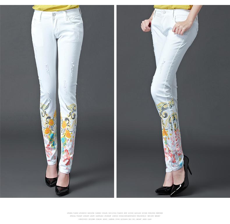 Dongdongta Women Girls White Color Jeans 2017 New Design Summer Original Design Full Length Cotton Mid Waist Skinny Pencil Pants 11