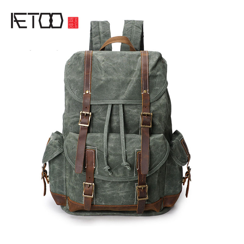 AETOO Oil Wax Canvas Men's Shoulders Backpack Men's Retro Waterproof Travel leisure Backpack vintage Shoulder Bag