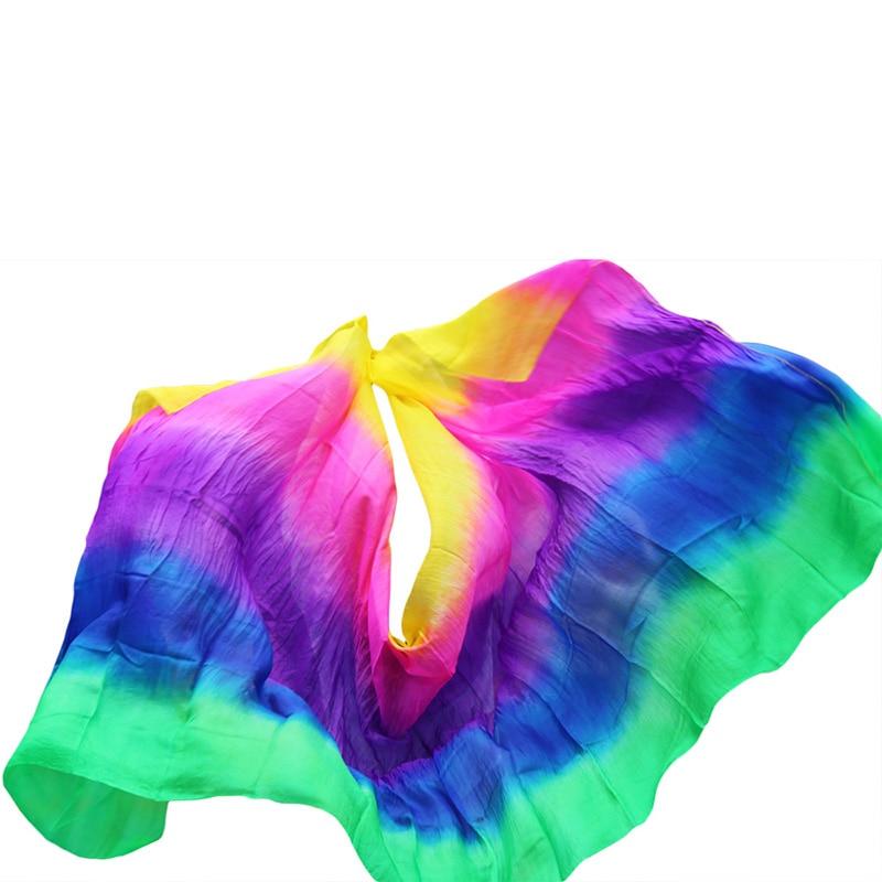 Disegno reale di 100% seta danza del ventre velo, veli di a buon mercato, tari perut kostum velo commercio all'ingrosso giallo + rosa + viola + blu royal + verde