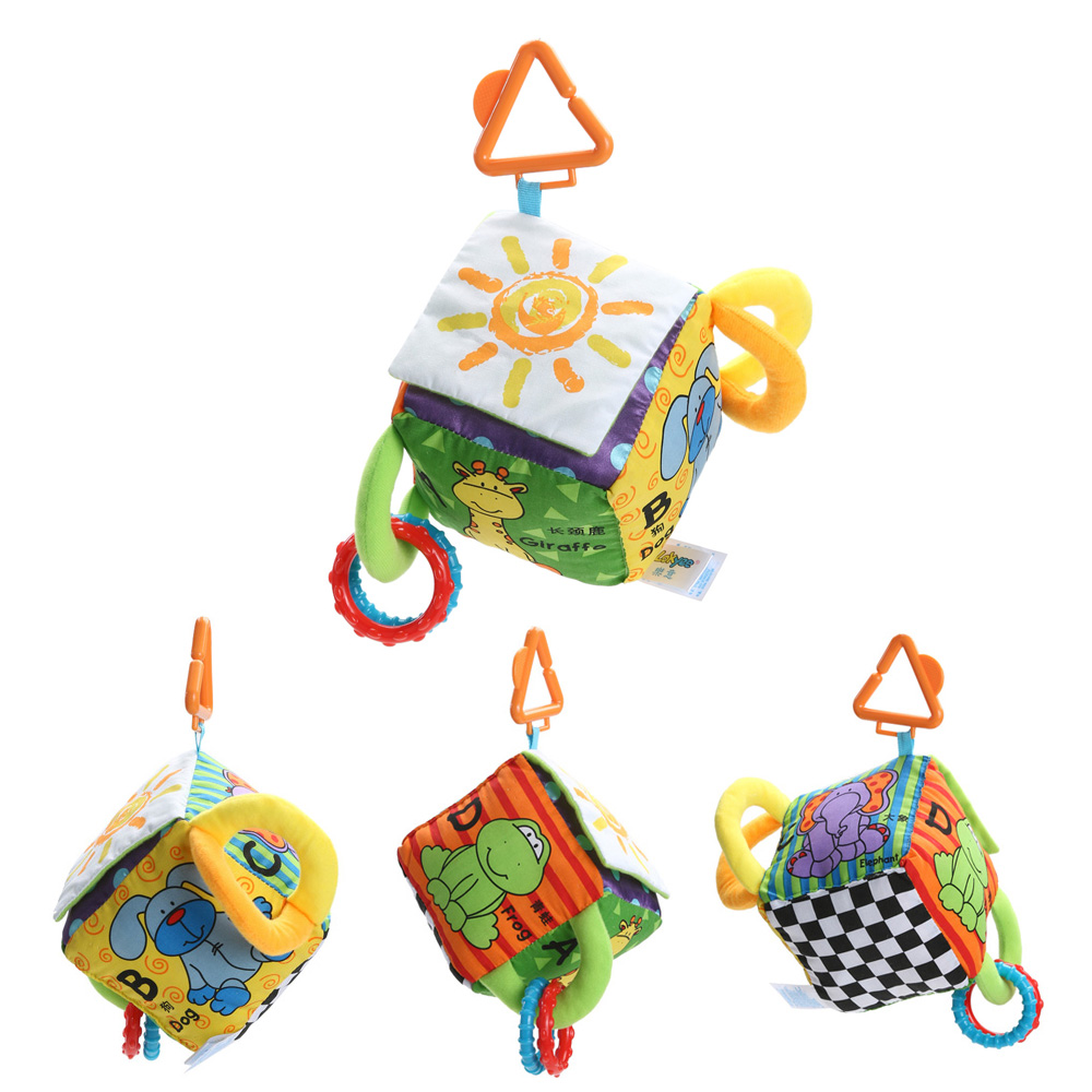 Baby Barn Leksaker Cartoon Animal Cube Rattle Ball Bok Plysch Ball Teether Leksaker Kubes för Barn Nyfödda Baby Soft Mobile Rattles