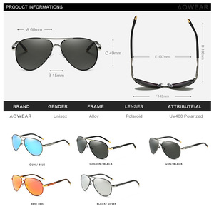 Image 4 - AOWEAR Brand Designer Polarized Sunglasses Men Aviation Coating Mirror Sun Glasses for Man Women oculos gafas lentes de sol