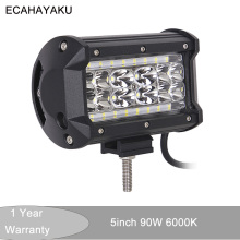 цена на ECAHAYAKU 1x 5 inch 90W LED Work Light Bar for Tractor Boat Off-Road led bar 4WD 4x4 Truck SUV ATV Spot Flood Combo Beam 12V 24v