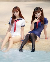 2018 Japanese school Uniforms Style sukumizu swimsuit Cute Sailor One Piece Lolita Swimwear girl Cosplay sexy Bathing suit