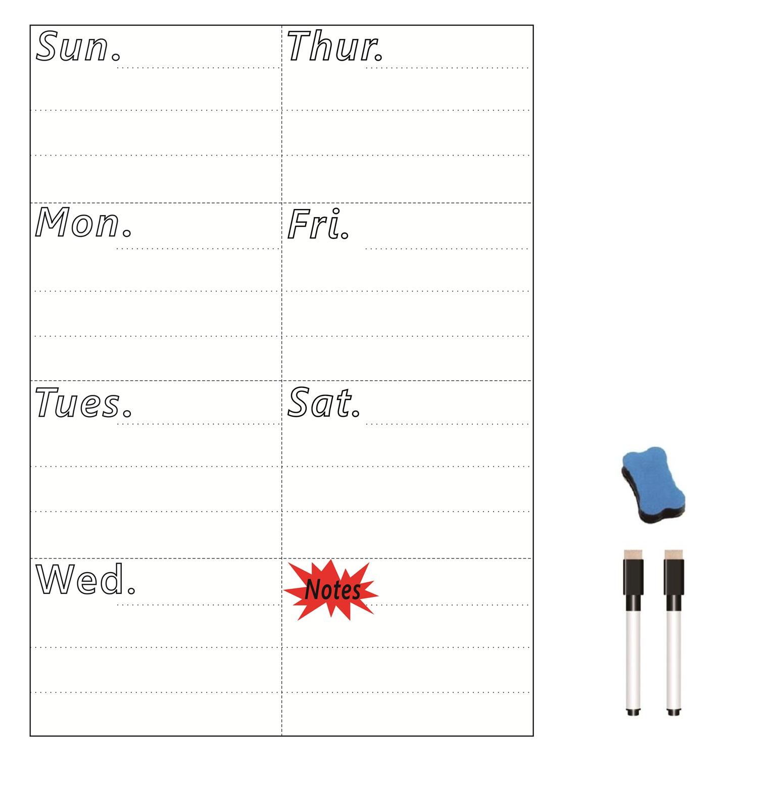 A4 Size Magnetic Weekly Planner Board Dry WIPE Whiteboard Day Planner Fridge Magnet Decor Writing Board Notepad Marker Eraser