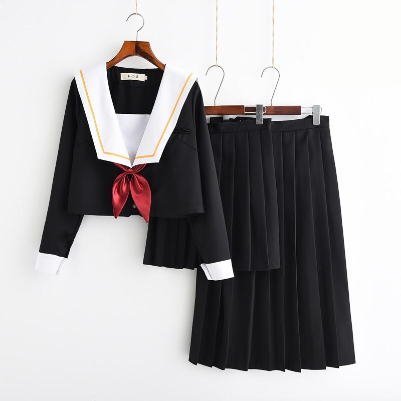 2019 new sailor suit students school uniform for teens preppy style cos uniform jk japanese seifuku bow skirt shirt