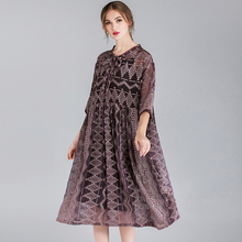Women's fashion loose Embroidery chiffon dresses high waist casual two piece Elegant dress Mid sleeve v neck large size dress недорого