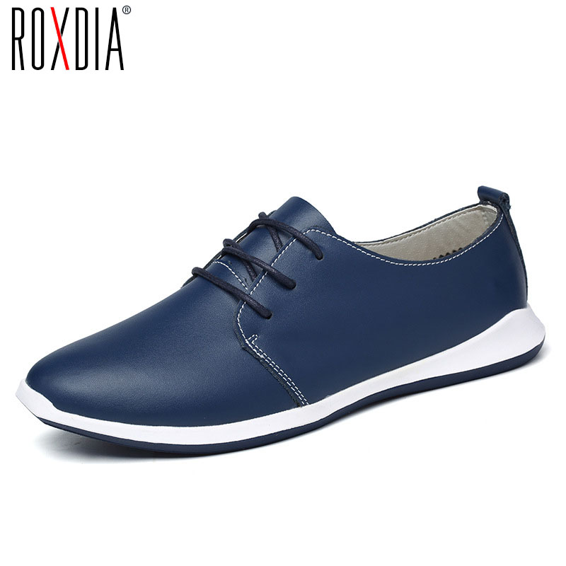 ROXDIA men flats casual shoes genuine leather spring autumn lace up man shoe brown Blue Black Plus size 39-47 RXM038 good quality men genuine leather shoes lace up men s oxfords flats wedding black brown formal shoes