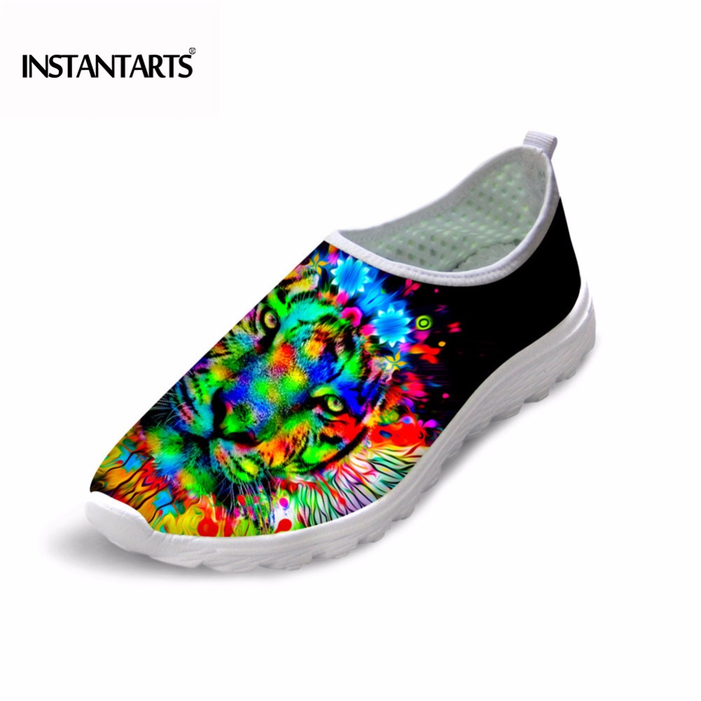 INSTANTARTS Men Casual Mesh Shoes Colorful Animal Tiger Printing Slip-on Flat Shoes Male Fashion Black Breathable Sneakers Shoes