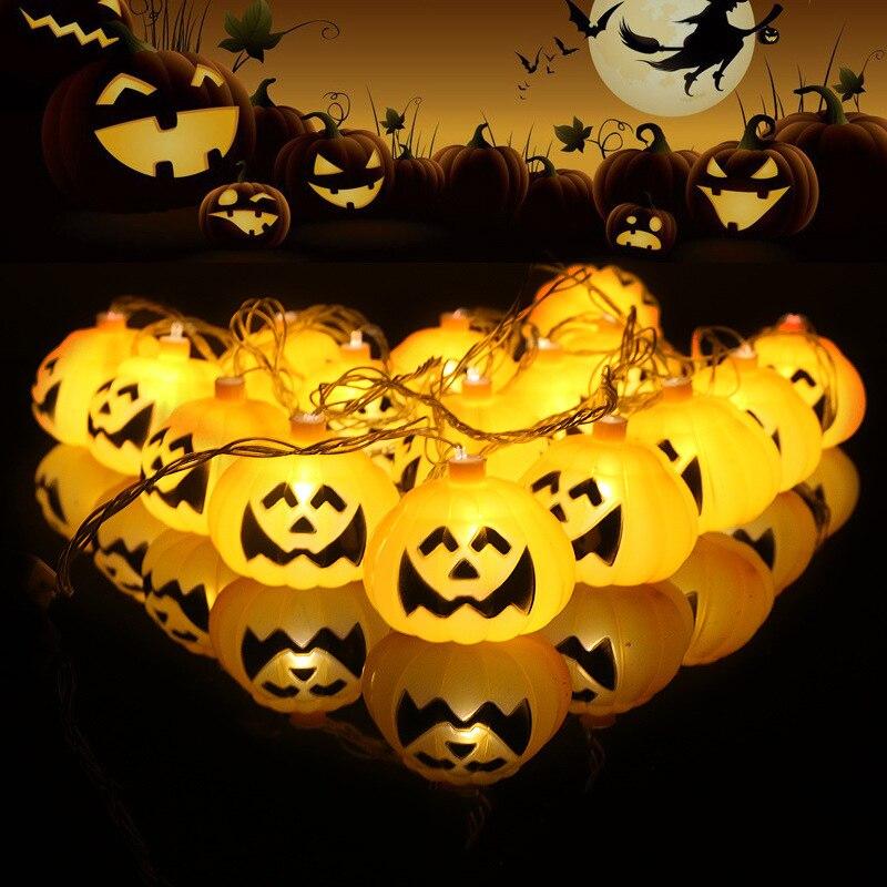 QuickDone Halloween Pumpkin LED String Light 2.5M 10 LED Pumpkin Light Halloween Indoor Outdoor Lights Decorations HG0561
