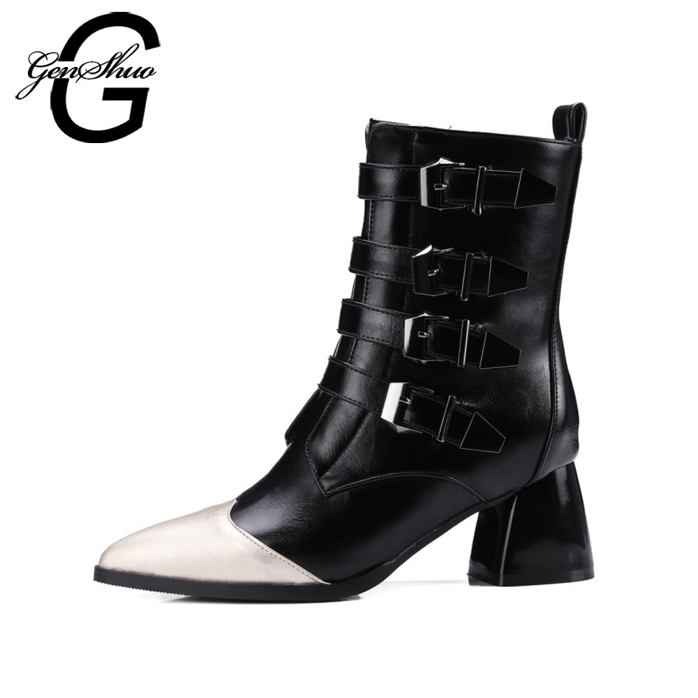 GENSHUO Fashion Buckle Strap Boots Women Winter Shoes Stiletto Mid Calf Boots Patchwork Pointed Toe High Heels Shoes Women Pumps