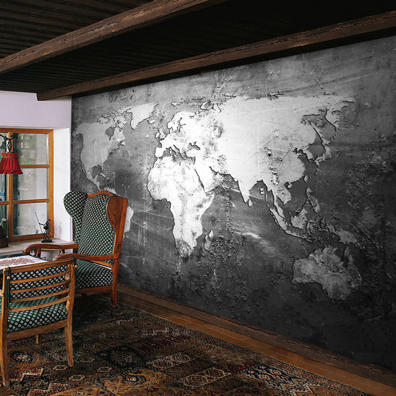 Beibehang custom mural wallpaper retro style world map for Custom mural wall covering