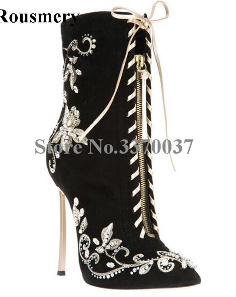 купить Hot Selling Women Fashion Pointed Toe Black Embroidery Lace-up Ankle Boots Zipper Design Stiletto Heel Gladiator Boots по цене 6119.1 рублей