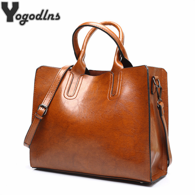 New Arrival Oil Leather Handbags for Women Large Capacity Casual Female Bags Trunk Tote Shoulder Bag Ladies Big Crossbody Bags yasicaidi fashion women leather handbags large capacity tote bag black oil leather shoulder bag crossbody bags for women handbag
