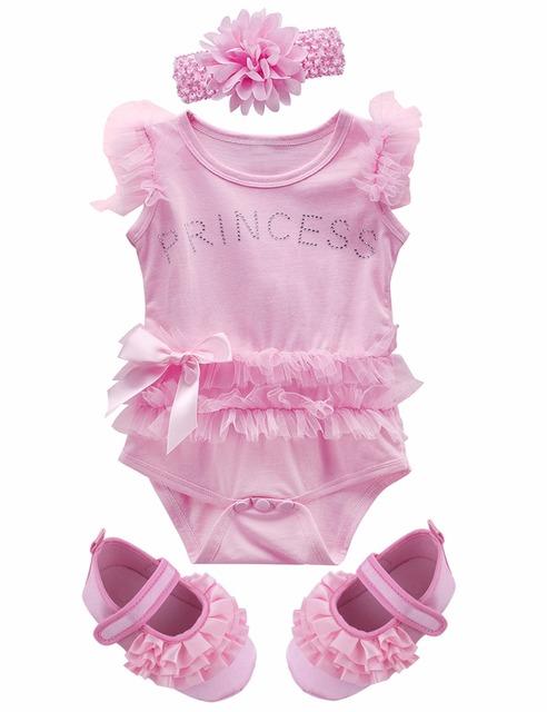 Bébé Fille Dentelle Tutu Robe Body avec bandeau et Chaussures Mignon Infantile Parti Barboteuse Rose 3 pcs