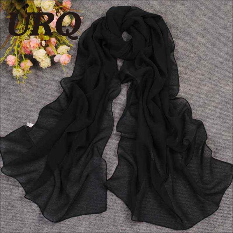 URQ Sciarpa di Seta Chiffon per la donna sciarpe di seta solido pianura delle donne della molla di Modo ragazza sciarpa poliestere wrap femminile P5A16017