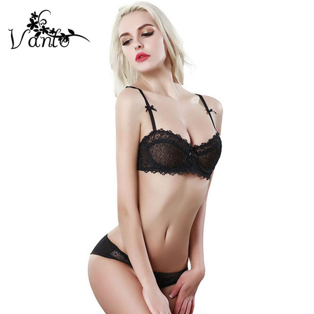 16a4832d9f77 2016 New Vanlo Brand Women Fashion Lingerie Sexy Flower Embroidery Ultrathin  Transparent Lace Bra Set with