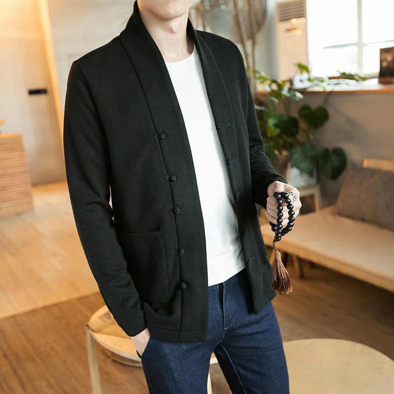 メンズ繁体字中国語服カーディガン固体唐のスーツの男性カンフー太極拳マスター衣装男性 Fshion コートジャケット CN-008