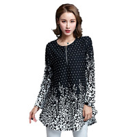 New Fashion Spring Women Blouses Shirts Casual Loose Printing White Blouse Long Sleeve Women Tops Plus