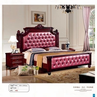 modern european solid wood bed Fashion Carved 1.8 m bed french bedroom furniture American style bed LLS830