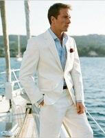 3Pieces Jacket Pant Handkerchief Notch Lapel Two Buttons White Cool Casual Men Suits Bespoke Business Office