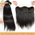 Queen Weave Beauty Straight Hair Bundles With Lace Frontal Closures 7A Unprocessed Virgin Brazilian Straight Hair With Closure