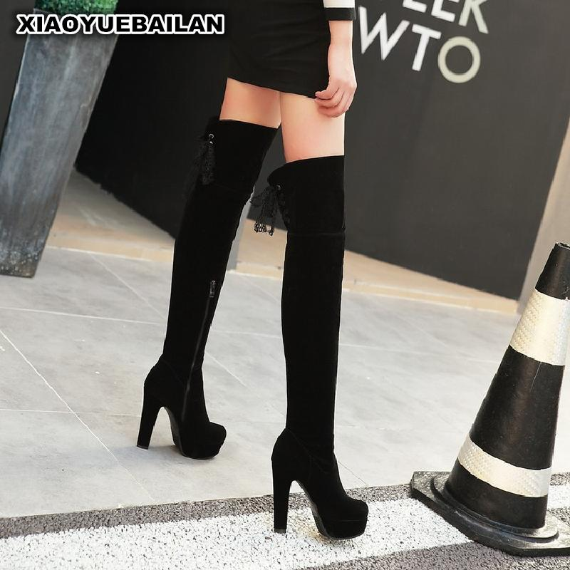 Winter New Sexy Thigh Boots With Thick Round Waterproof Taiwan High Heeled Side Zipper boots