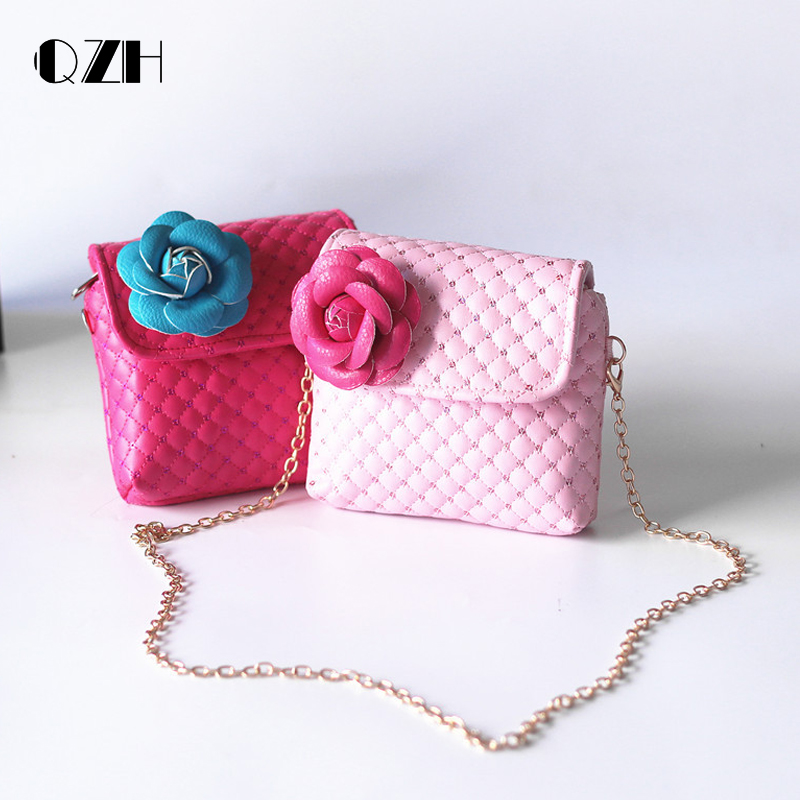 QZH Baby Girls Mini Messenger Bag Child Cute Princess Bag Girl Small Coin Purses Children Handbags Kids Flower Shoulder Bags qzh cartoon kids children mini bags fruit messenger bags coin purse pouch handbags for kindergarten baby girls boys shoulder bag