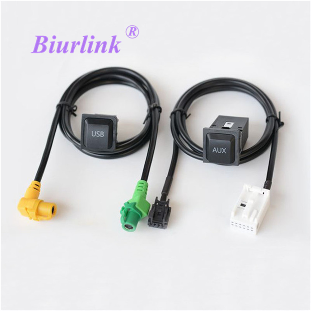 Biurlink RCD510 RNS510 RNS315 RCD310 RCD300 Car AUX USB Adapter Audio Cable Switch Plug For Volkswagen Passat CC Golf POLO