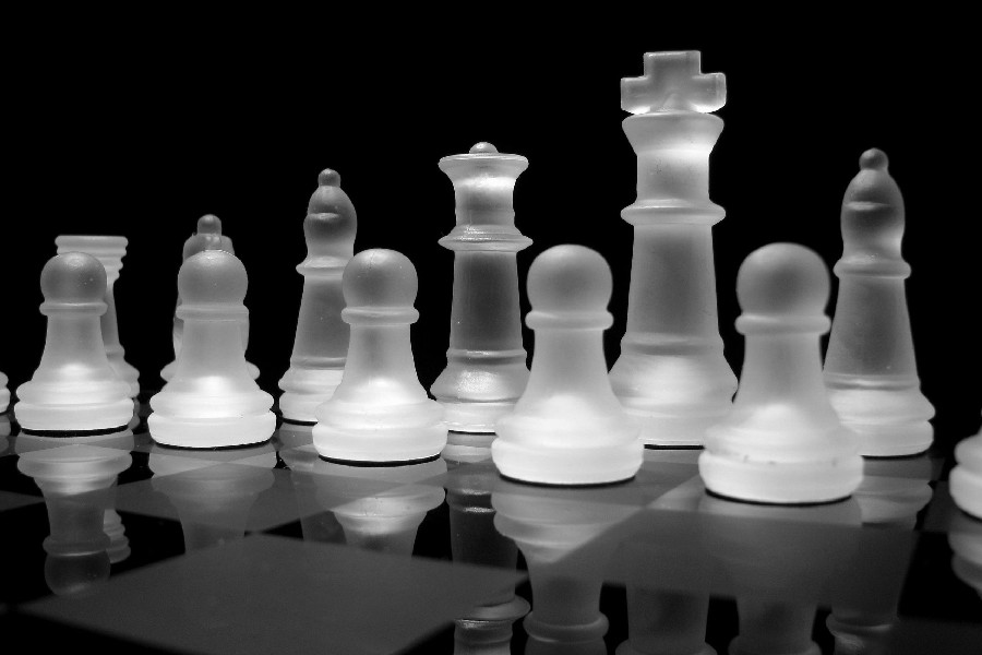 ... grayscale chess pieces glass art cloth silk art wall poster and prints