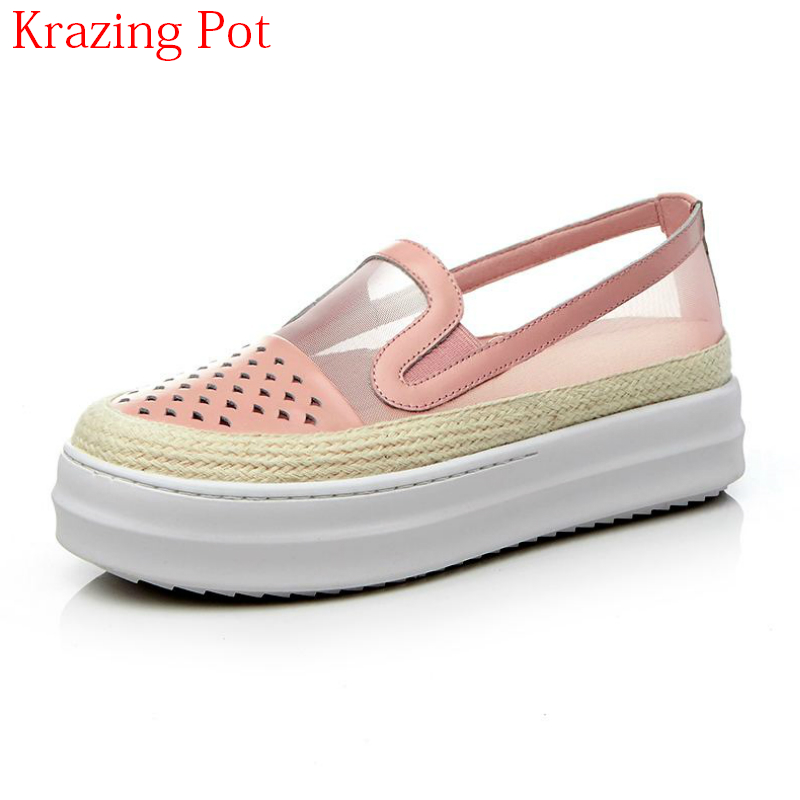 Fashion Round Toe Summer Shoes Sneaker for Women Air Mesh Causal Thick Bottom Hollow Slip on Loafer Women Vulcanized Shoes L33