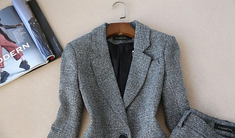 2018 nuevo Otoño Invierno mujer de manga larga de lana traje chaqueta + lápiz pantalones dos piezas señoras profesional pantalones de traje - 4