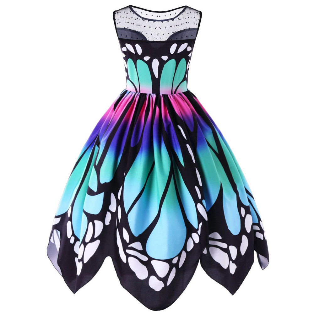 Us  womens butterfly printing sleeveless party dress printed natural butterfly vintage swing lace beach dress women's clothing