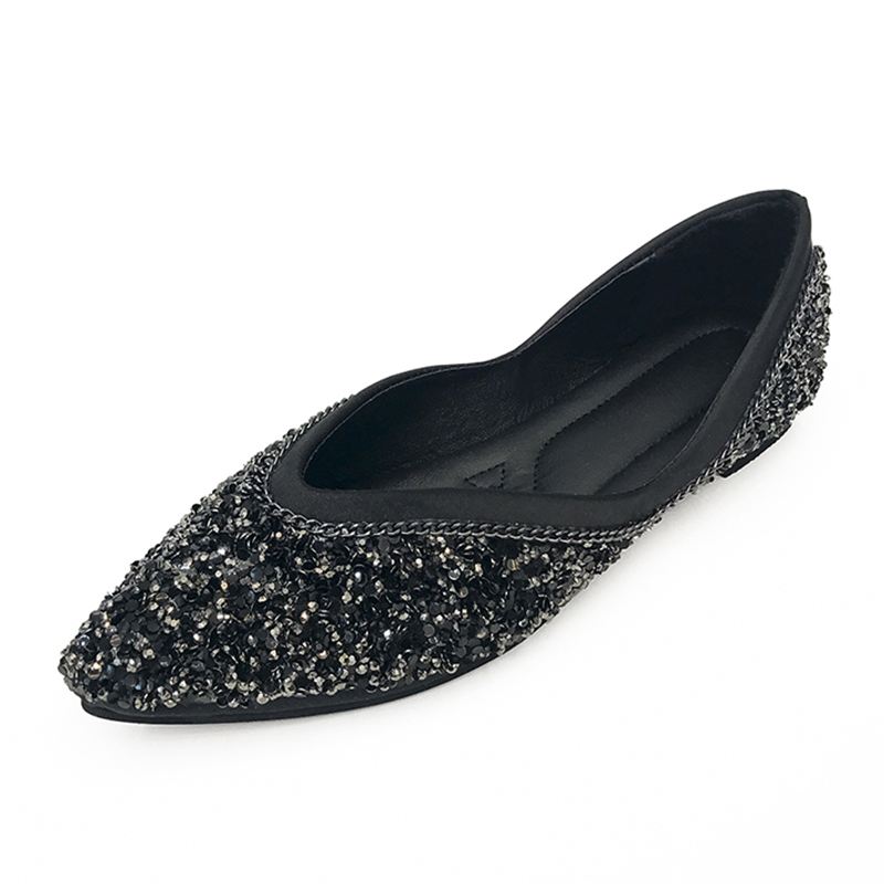 Moxxy NEW Fashion 2017 Flats Shoes Women Ballet Princess Shoes For Casual Crystal Boat Shoes Rhinestone Women Flats Black Green fashion pointed toe women shoes solid patent pu brand shoes women flats summer style ballet princess shoes for casual crystal