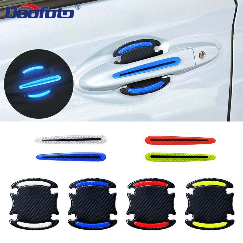 Doofoto 4x 3D Reflective Tape Warning Strip Door Handle Bowl Cover Sticker Reflector Car Exterior Accessories For Honda Corolla