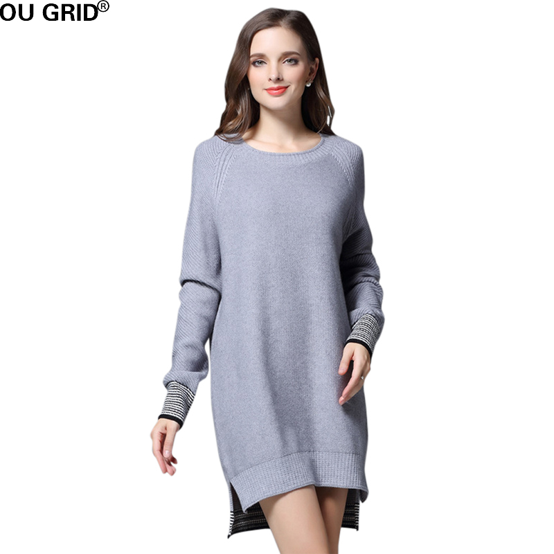 Womens Loose Knitted Sweater Dress 2017 Spring Asymmetrical Gray and Black Solid Color Long sleeve Casual Mini Dresses